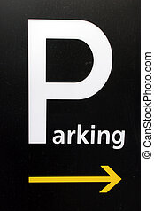 Parking sign with a yellow arrow