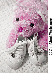 Baby Shoes and Teddy - Pair of Babies shoes with Teddy Bear