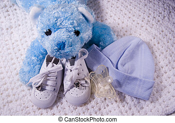 Baby Items 2 - Pair of Babies shoes with Teddy Bear, cap,...