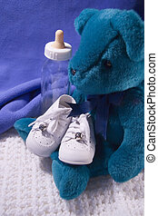 Baby Stuff - Babies shoes, Teddy Bear and Bottle