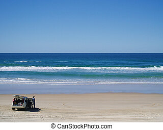 Four Wheel Drive Car at Beach - 4WD car at Noosa Beach