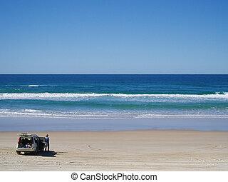Four Wheel Drive Car at Beach - 4WD car at Noosa Beach