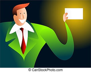 here\'s my card - businessman handing out his card