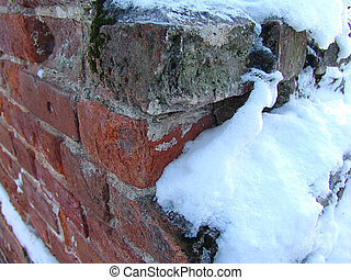 Brick ruin - Ancient brick wall ruin under snow