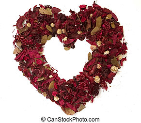 Heart made of dried flowers - Isolated frame of heart made...