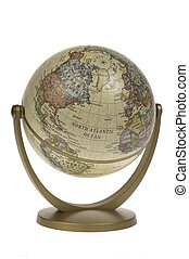 Single world globe against a white background