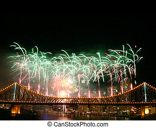 Fireworks with Copyspace - Fireworks with copyspace at the...