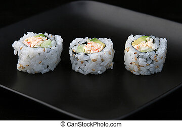 Sushi On Black Plate 1