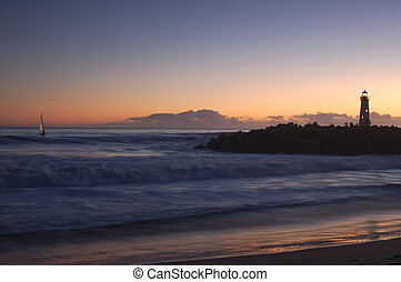 Lighthouse at sunset - Lighthouse at Santa Cruz, California...
