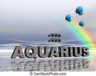 Horoscope, aquarius. - Horoscope text and sign aquarius,...