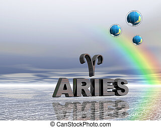 Horoscope, aries. - Horoscope text and sign, aries, ram, tup...