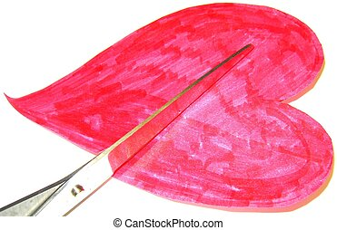 True love - A heart being cut by a scissors just in time for...
