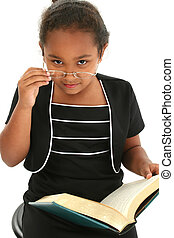 Chid Girl Glasses - Young Africam American girl with glasses...