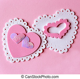 Pink Valentines - Pink and white foam heart cut outs on pink...