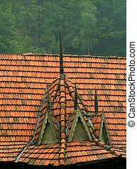 Red tiled roof, traditional design, Carpathian Mountains,...