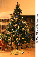 Christmas Tree - A 12foot Christmas Tree with blue and gold...