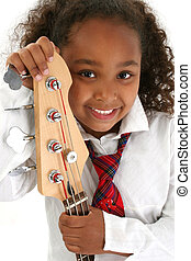 Bass Babe Child - Beautiful African American girl holding a...