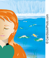 serenity now - a illustrated woman meditates to achieve a...