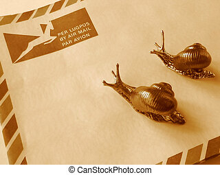 Air mail/snail mail? - Two snails on a South African airmail...