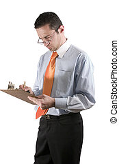 Businessman with clipboard on hand - Isolated businessman /...