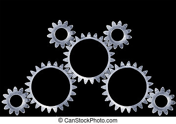 Gear set - Meshing gears with clipping paths