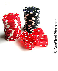 Chips and Dice - Red and black poker chips; red dice