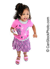 Child Girl Music - Full body shot of three-year-old girl...