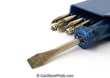 Screwdriver set - Adjustable screwdriver set on white
