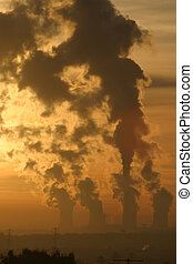 Smoke Stacks - Wintry Sunset, Over Radcliffe On Soar, coal...