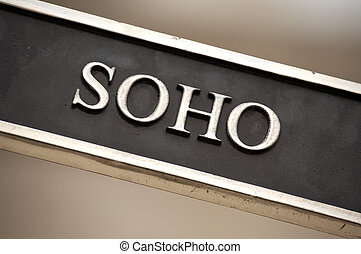 Soho street sign, London, England