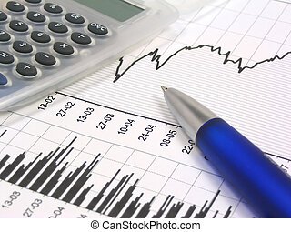 Stock chart with calculator and pen - Stock chart, grey...