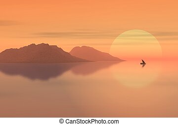 Pink sun rise - 3d rendered pink sunrise over a lake with a...