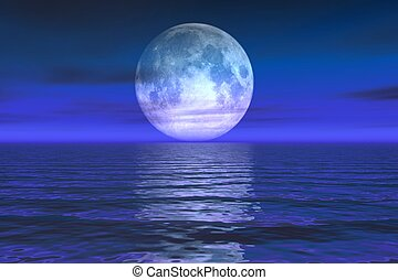 Moon Rise - 3d rendered moon rising above the sea