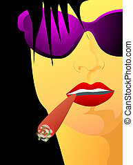 Portrait of girl with cigar - Portrait of girl - face is not...