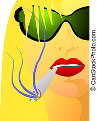 Portrait of girl with cigar - 303 - Iillustration of woman