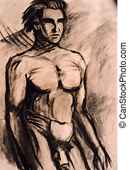 Studies of naked man torso - Naked man - person is not...