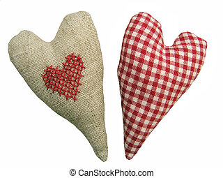 Two love symbol - Textile heart - Isolated with white...