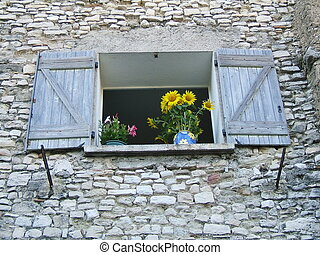 Window with flowers - Open window with flower in provencal...