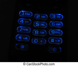 Glowing phone keypad - Glowing cell phone keypad with blue...