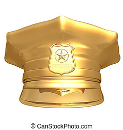 Gilded Police Cap 01 - Gilded Police Cap 3D