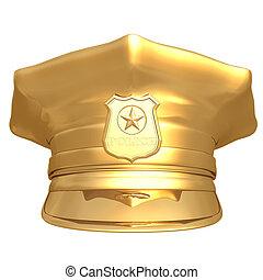 Gilded Police Cap 01 - Gilded Police Cap 3D