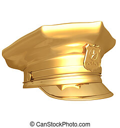 Gilded Police Cap 02 - Gilded Police Cap 3D