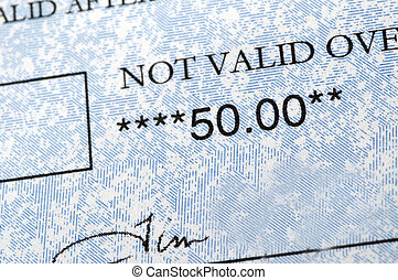 fifty dollar check detail - not valid over fifty check...
