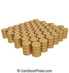 Gilded Oil Barrels 3D
