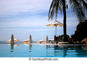 thailand pool resort - view from pool overlooking ocean