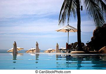 thailand pool resort - view from pool overlooking ocean