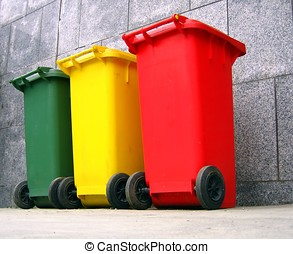 Trash Cans - -- in three colors for plastic, metal and...