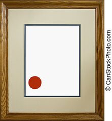 Wood Picture Frame - Wood-grained picture frame ; Diploma