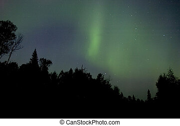 Nothern Lights - Northern Ontario Boreal Forest; Northern...
