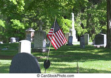 American Flag & Grav - American Flag on Old Gravestone